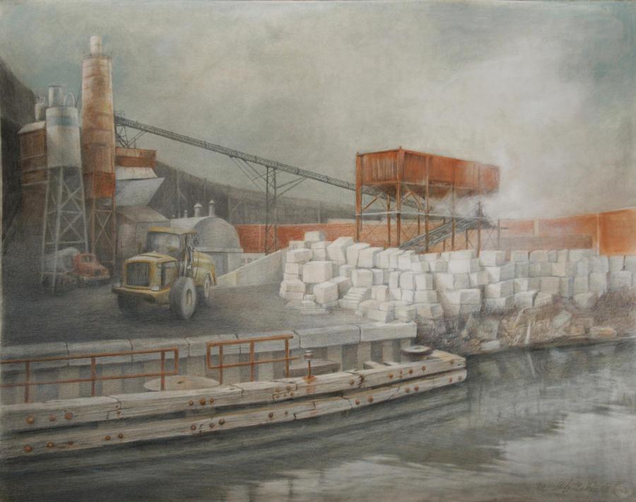 Industrial Drawing - White Cinder Blocks by Stefan Beltzig