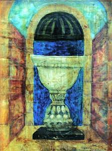 Chalice. Vase Painting - White Classic Vase  In Chalice Style  A Nouveau Fresco Paintings by Judy Loper