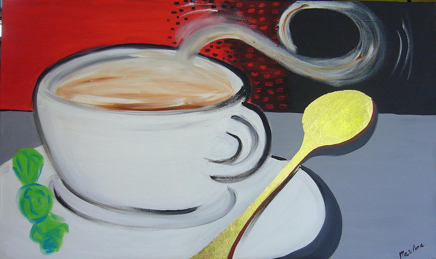 Coffee Painting - White Coffee by Marilena  Pilla