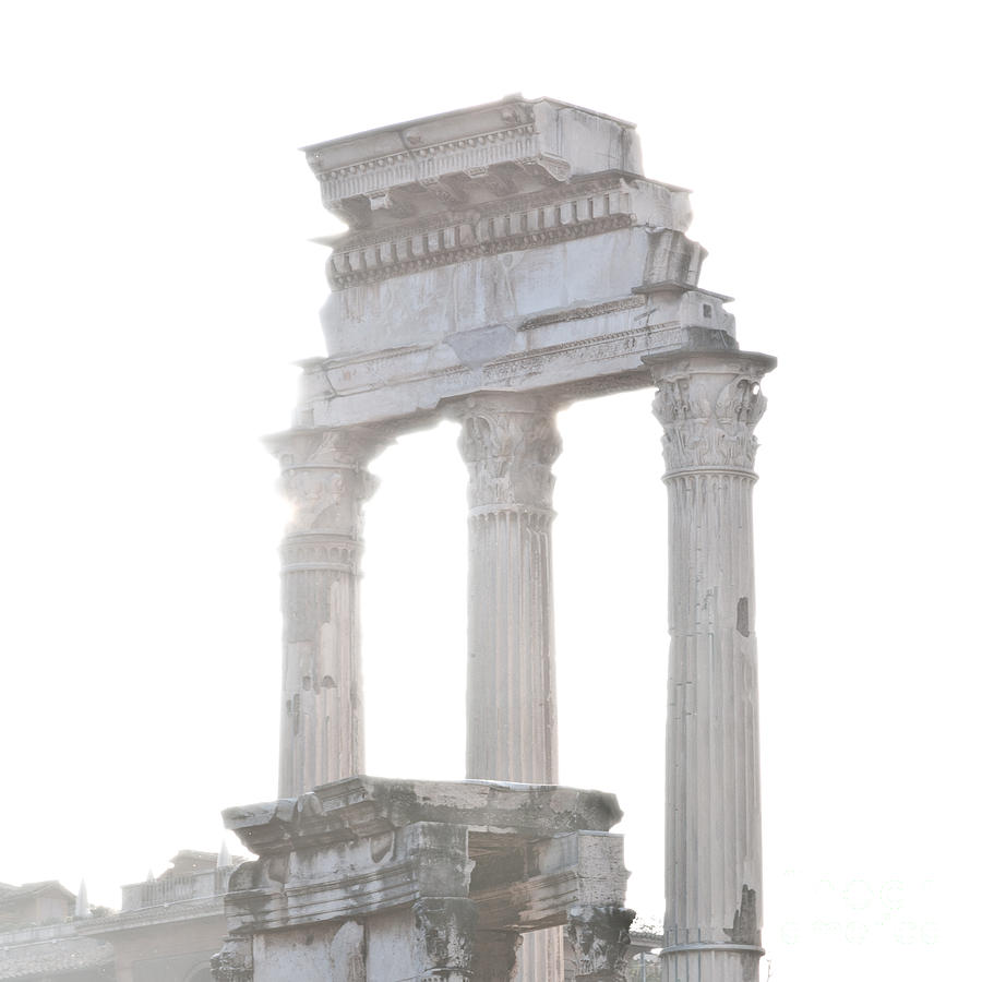 Roma Photograph - White Columns Temple Of Castor And Pollux In The Forum Rome Italy by Andy Smy