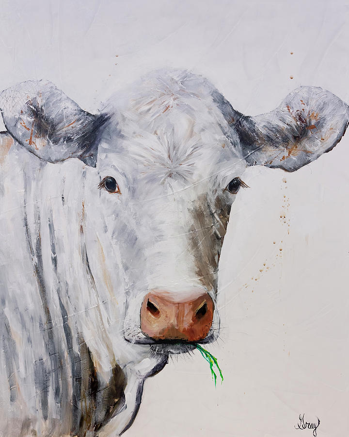 White Cow Munching On Grass Painting