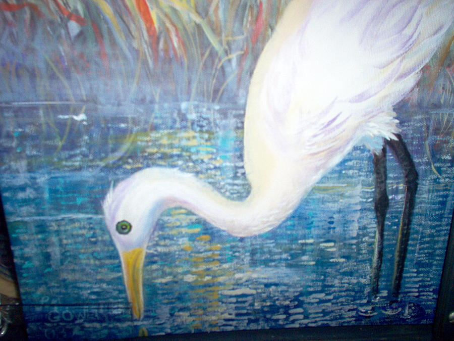 White Bird Painting - White Crane At The Pond by Linda Gower