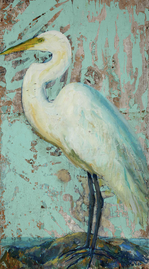 Crane Painting - White Crane by Billie Colson