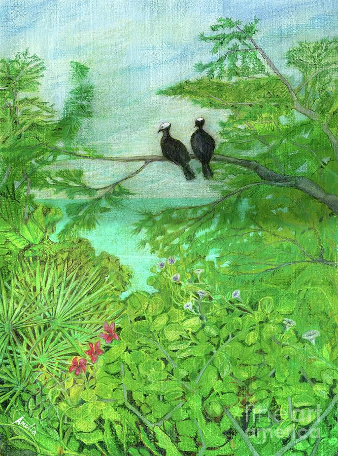 Bahamas Painting - White-Crowned Pigeons by Amelia at Ameliaworks