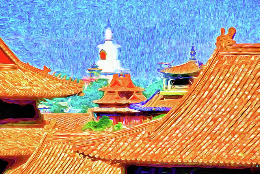 China Photograph - White Dagoba View by Dennis Cox