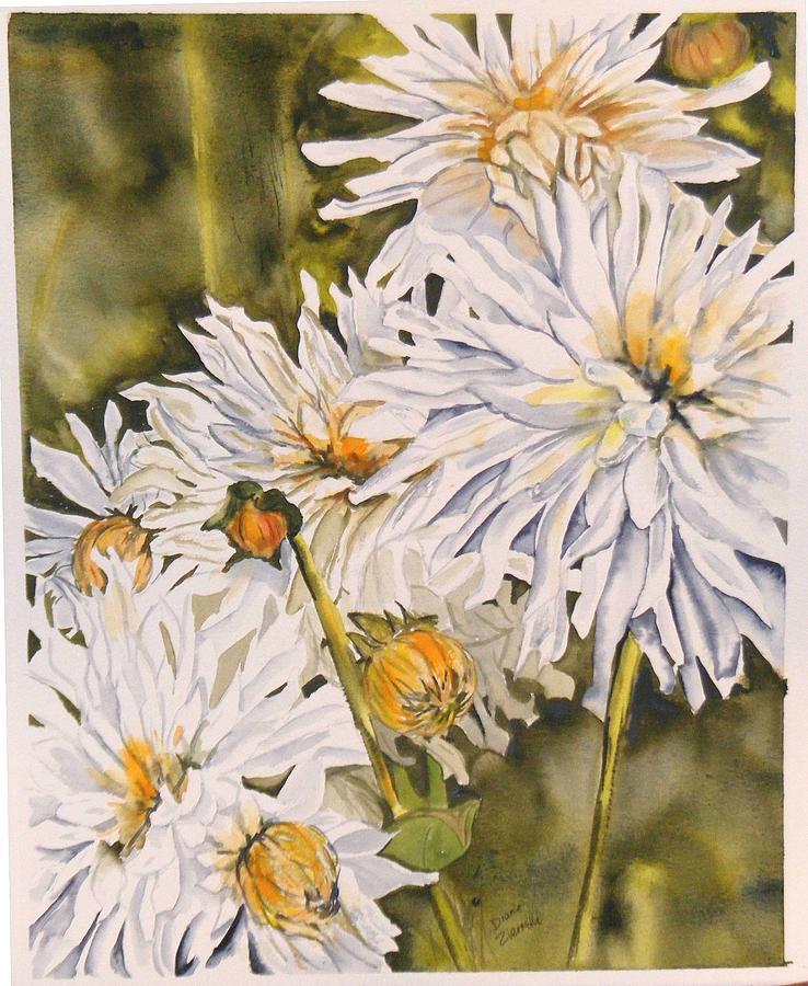 White Painting - White Dahlias by Diane Ziemski