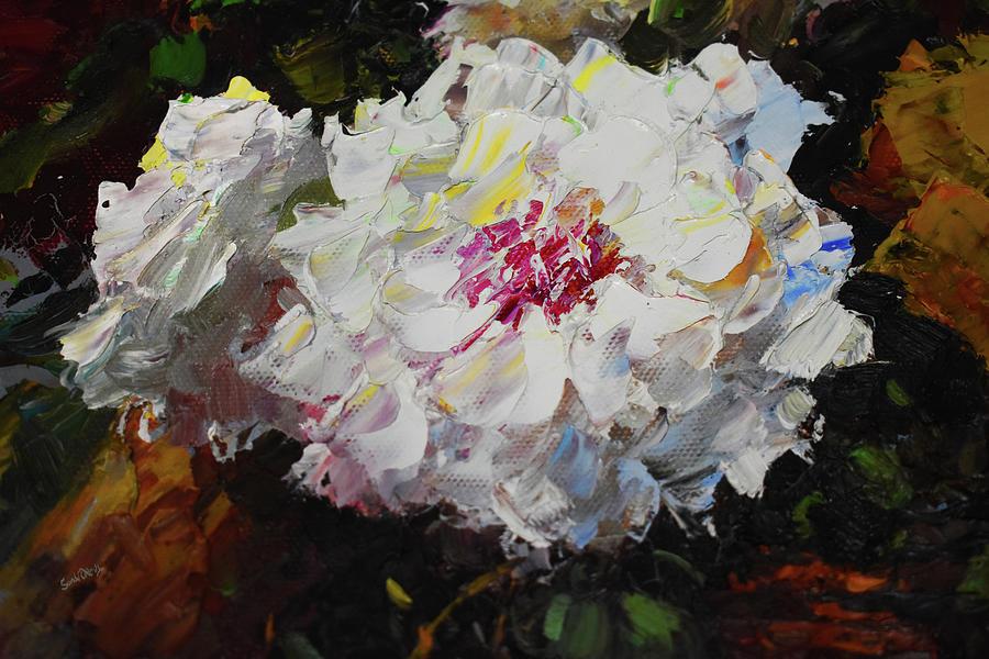 White Dahlias Painted by Sandi OReilly
