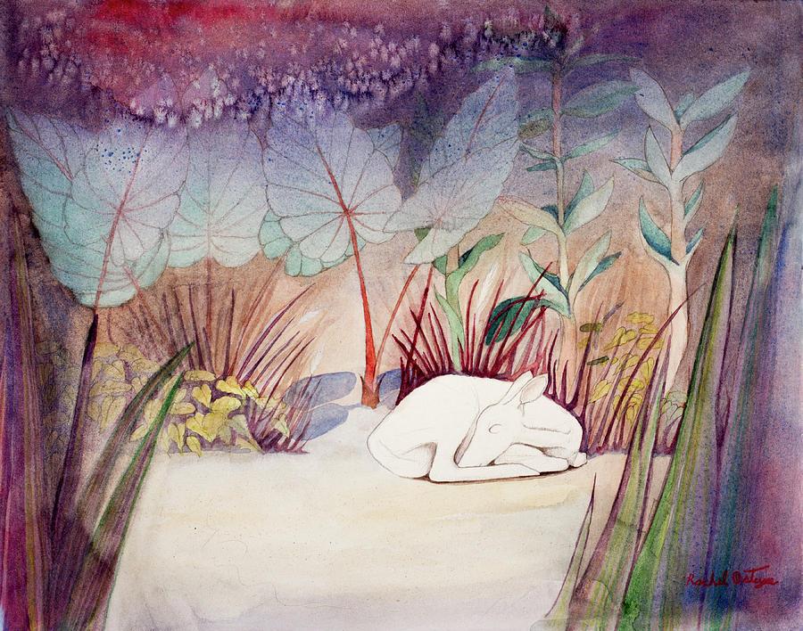Deer Painting - White Doe Dreaming by Rachel Osteyee