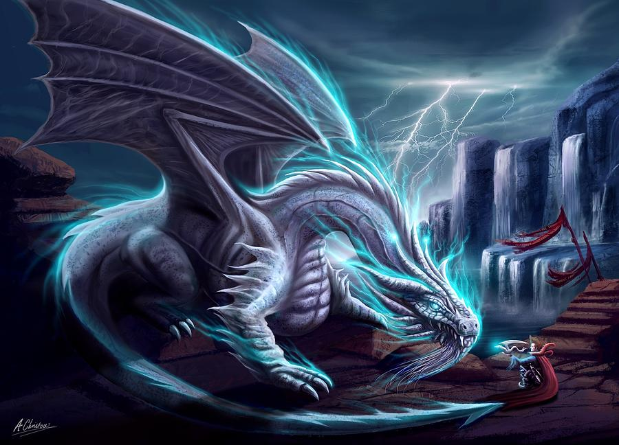 Dragon Painting - White Dragon by Anthony Christou