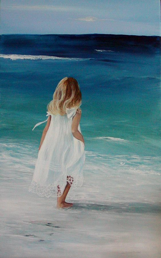 Seascape Painting - White Dress by Jan Easters Cumber