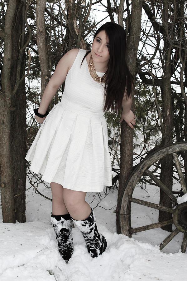Snow Photograph - White Dress by Julien Boutin
