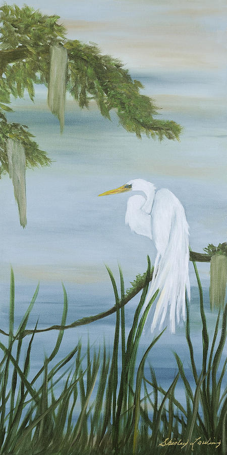 Marsh Scene Painting - White Egret by Shirley Lawing