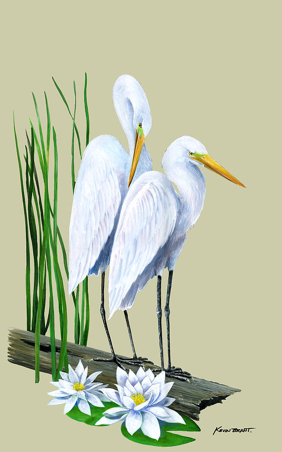 Egret Painting - White Egrets And White Lillies by Kevin Brant