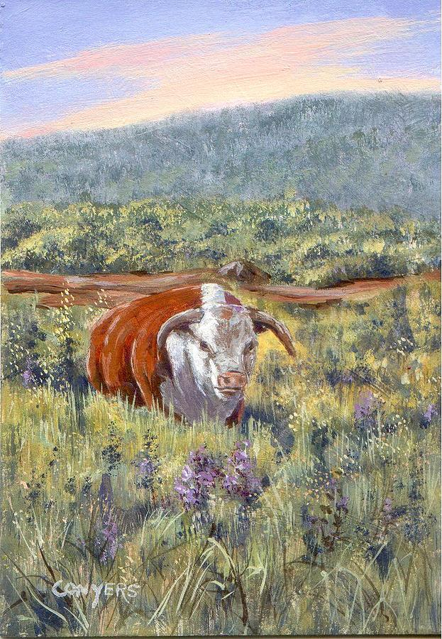 Hereford Bull Painting - White Face Bull by Peggy Conyers
