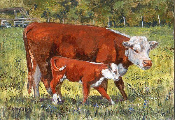 Cows Painting - White Face Cow And Calf by Peggy Conyers