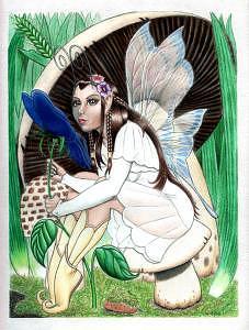 Faery Drawing - White Faery by Frank Rosalez Jr