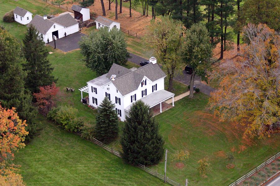 Aerial Photograph - White Farm House by Duncan Pearson