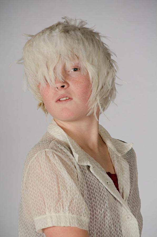 White Feather Wig Girl by Irina Archangelskaya