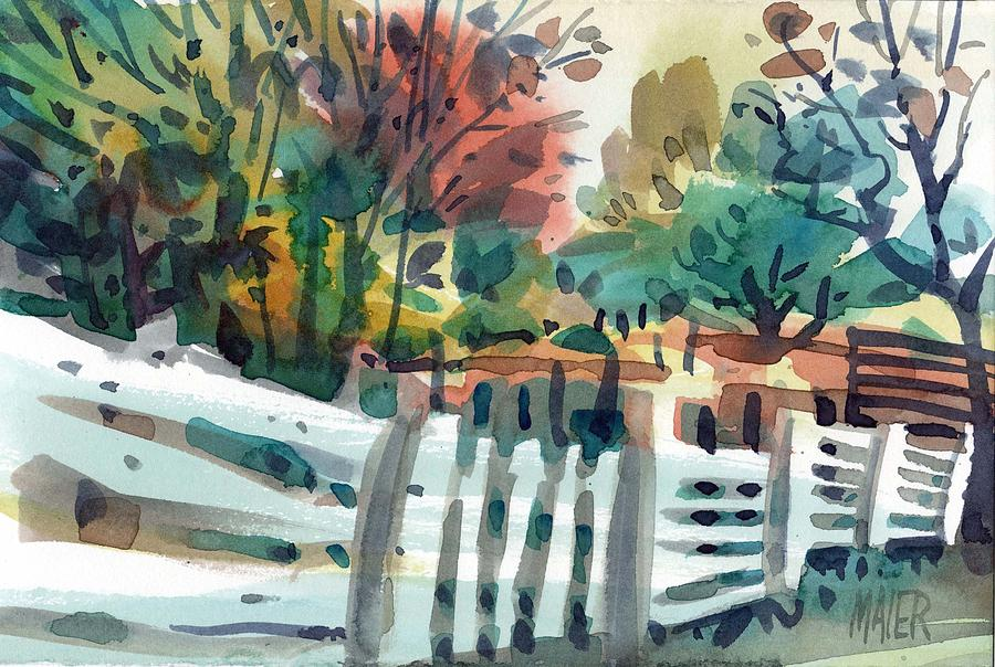 Fence Painting - White Fence by Donald Maier