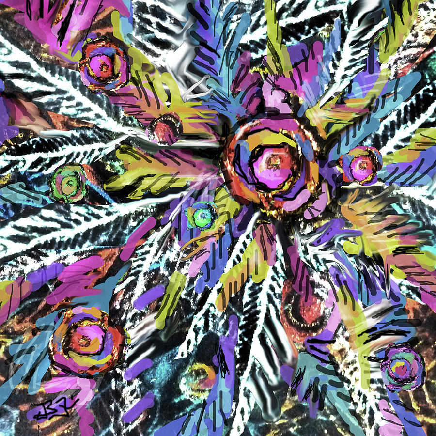 Colorful Abstract Digital Art - White Ferns - Detail by Jean Batzell Fitzgerald