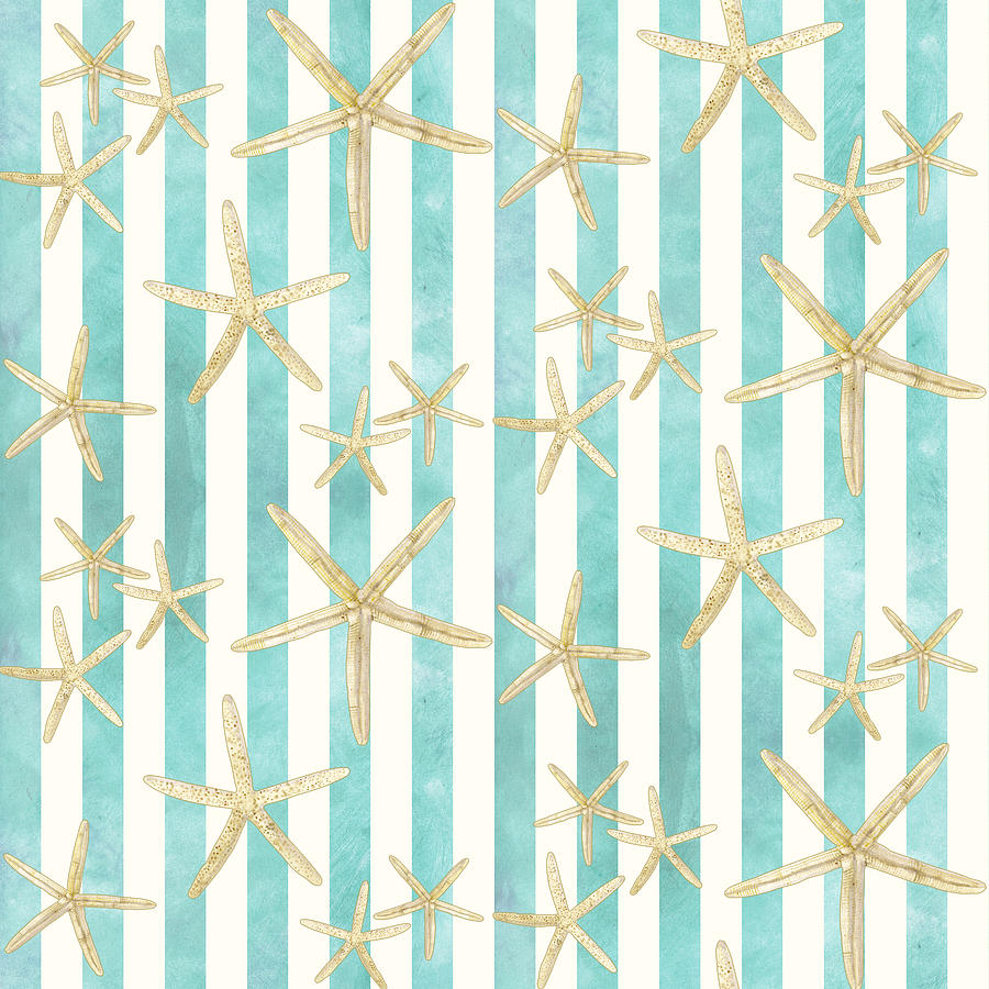 Watercolor Painting - White Finger Starfish Watercolor Stripe Pattern by Audrey Jeanne Roberts