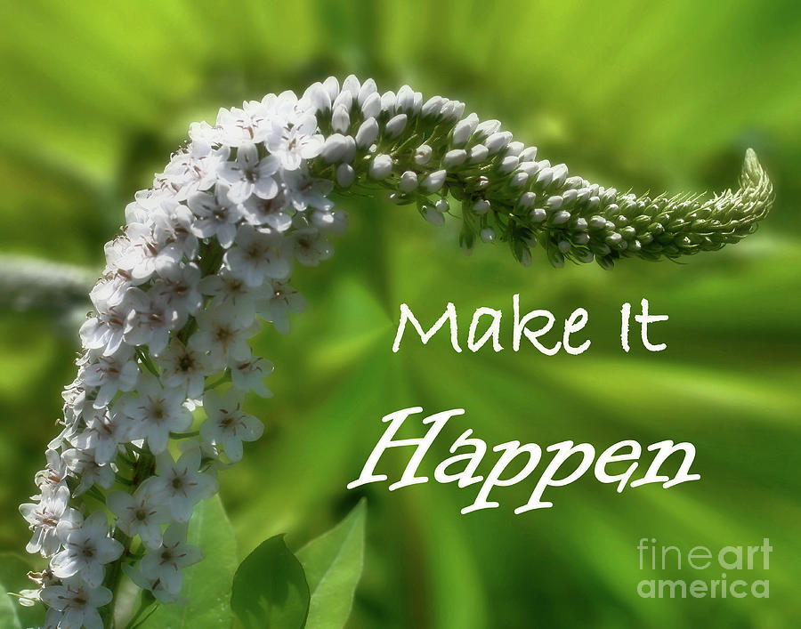 Inspirational Photograph - White Flower Inspirational Make It Happen by Smilin Eyes  Treasures