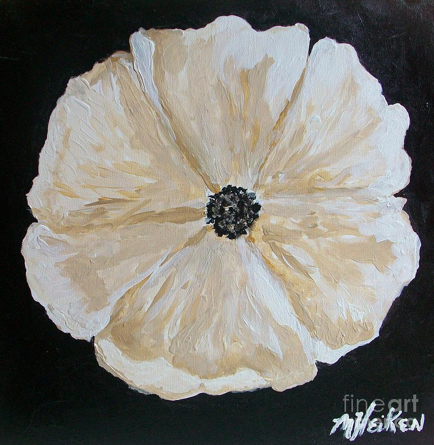 Flower Painting - White Flower On Black by Marsha Heiken