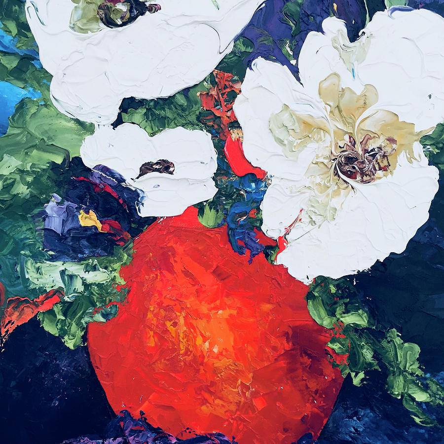 White Flowers Painting By Carol Stanley