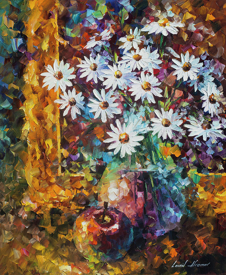 Painting Painting - White Flowers by Leonid Afremov