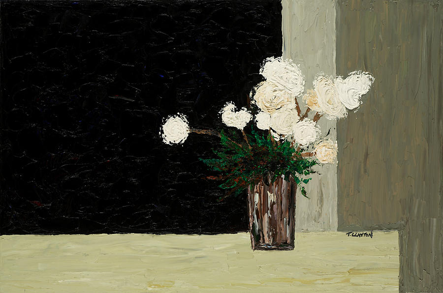Flowers Painting - White Flowers On Black And Neutral by Timothy Clayton