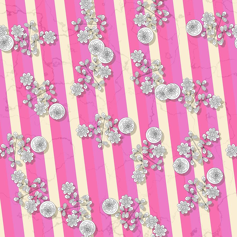 White flowers on oblique striped pink yellowish background by Lenka Rottova