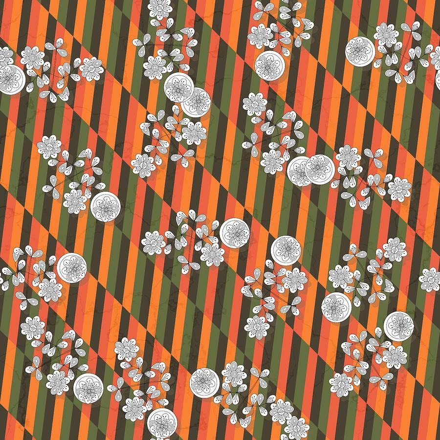 White flowers on orange green geometric straw background by Lenka Rottova
