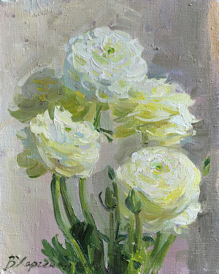 White Flowers Painting by Victoria Kharchenko