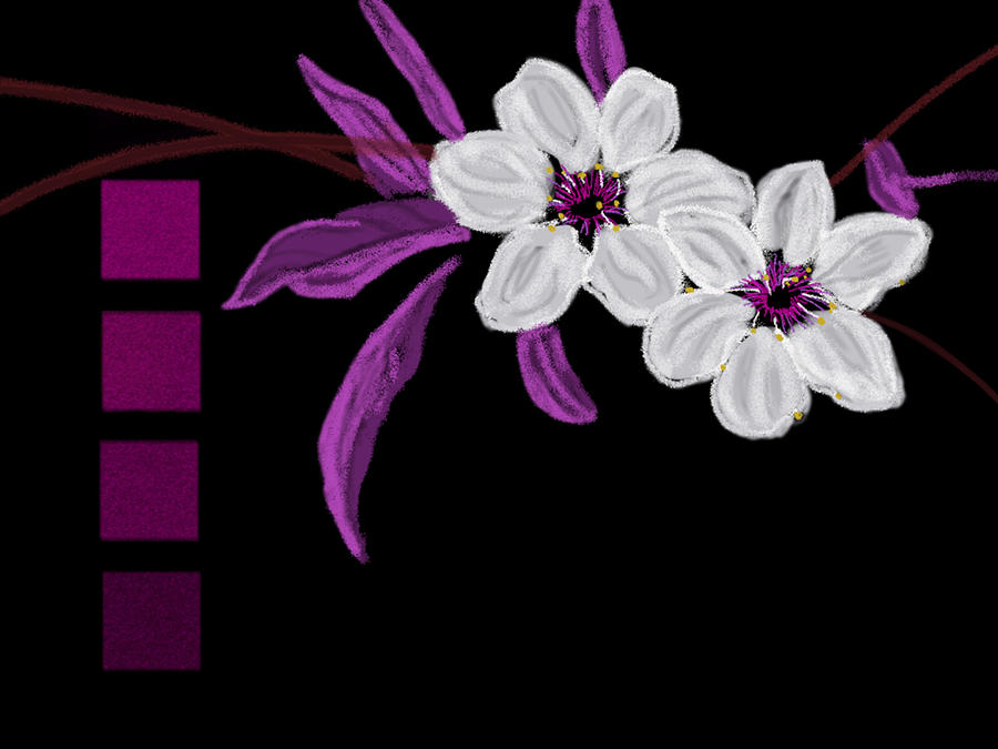 White Flowers With Purple Leaves Digital Art By Shaun Poole