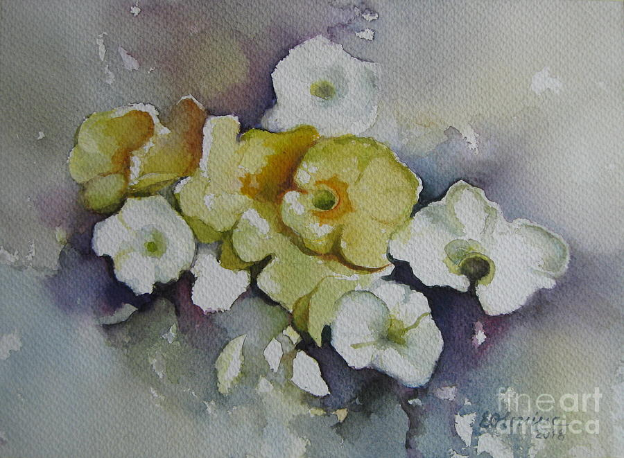 White flowers yellow flowers painting by elena oleniuc primula painting white flowers yellow flowers by elena oleniuc mightylinksfo