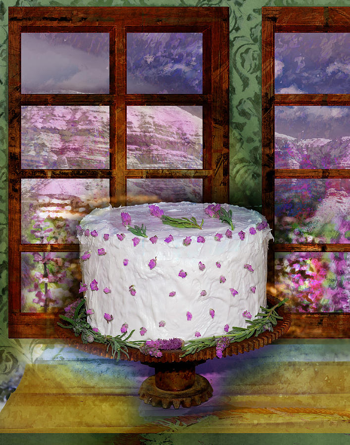 Cake Digital Art - White Frosted Cake by Mary Ogle and Miki Klocke