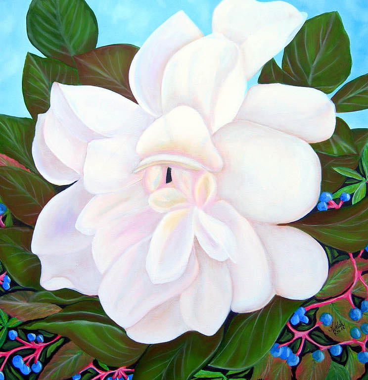 White Gardenia with Virginia Creepers by Kathern Welsh