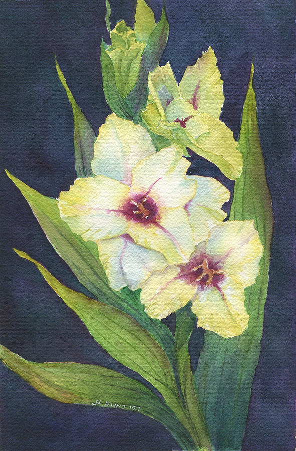 Gladiola Painting - White Glads by June Hunt