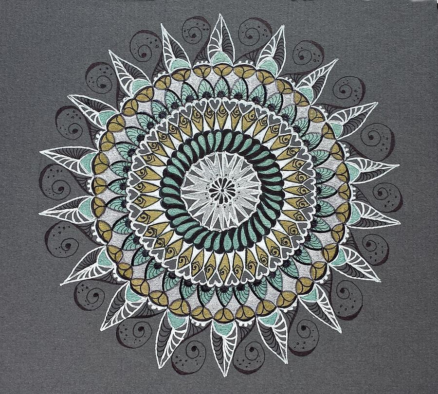 white gold green mandala mindfulness art drawing by lorraine kelly