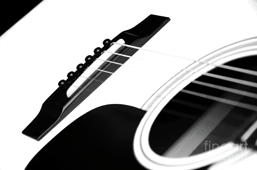 Guitar Photograph - White Guitar 10 by Andee Design