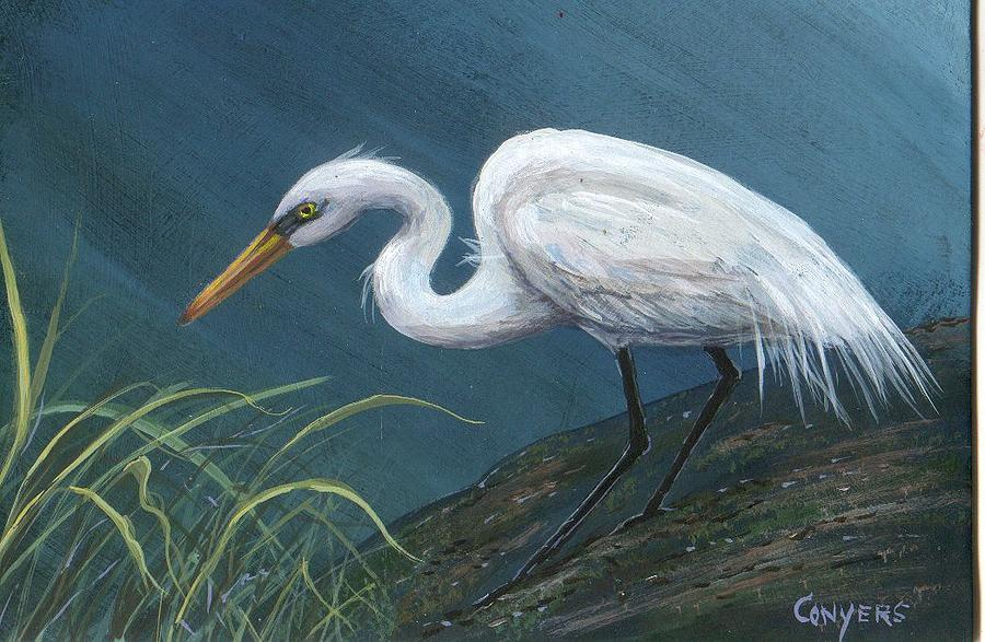 Heron Painting - White Heron by Peggy Conyers