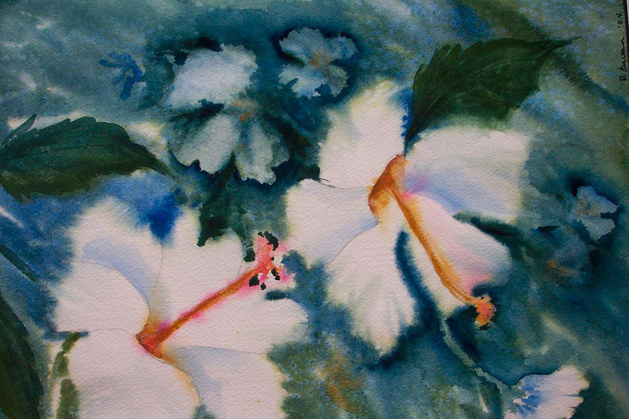Hibiscus Painting - White Hibiscus by Ruth Bevan