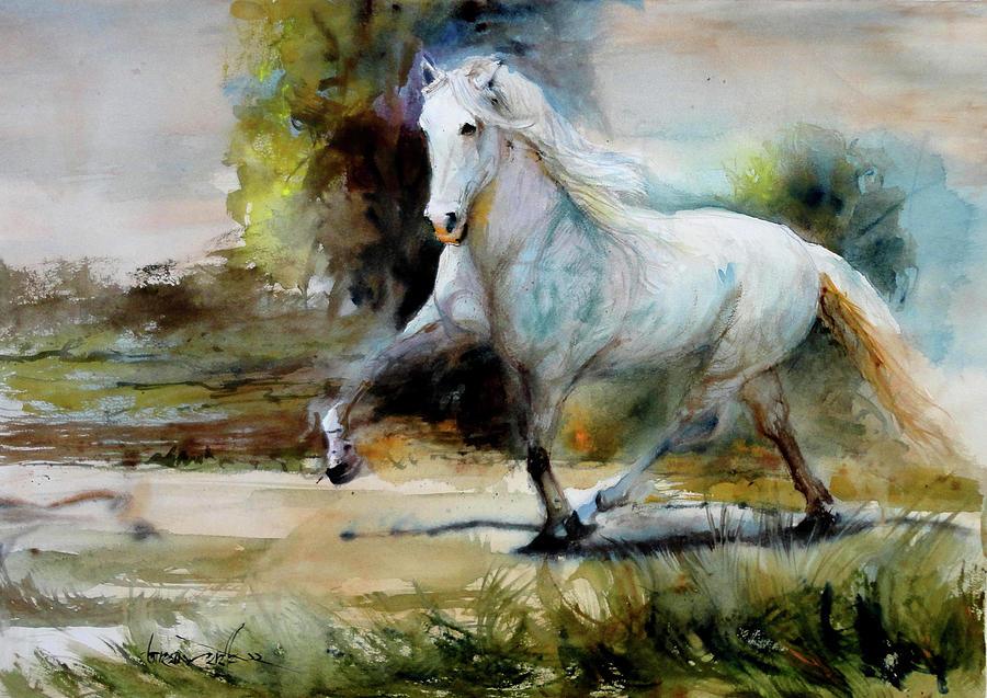 White Horse Original Watercolor