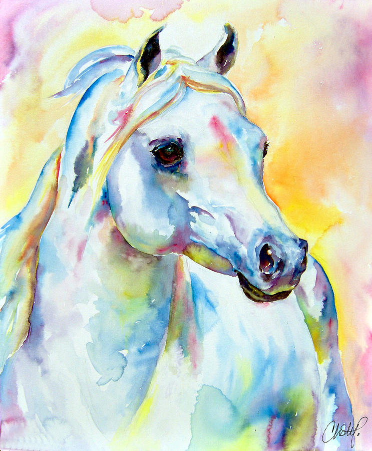 White Horse Portrait Painting by Christy Freeman