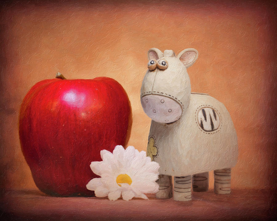 Animal Photograph - White Horse with Apple by Tom Mc Nemar