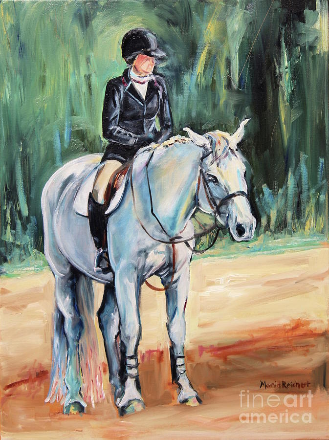 Horse Painting - White Horse With Rider  by Maria Reichert
