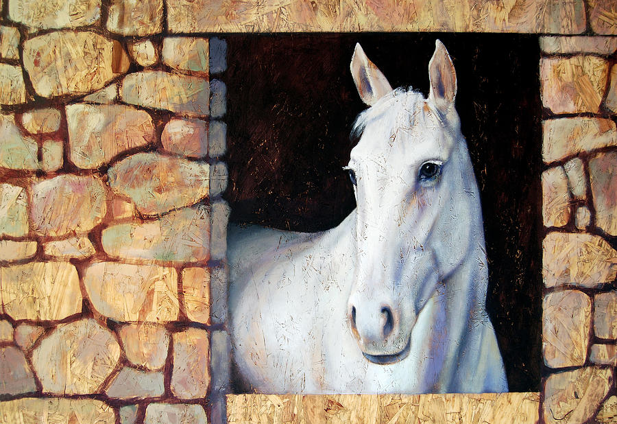 Horse Painting - White Horse1 by Farhan Abouassali