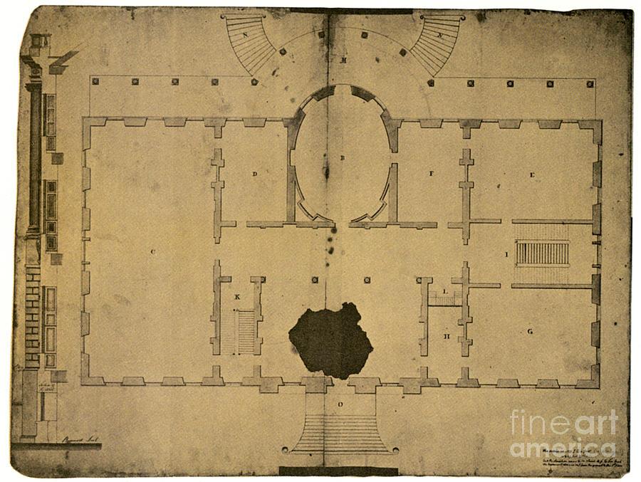 White House Floor Plan Photograph By Granger