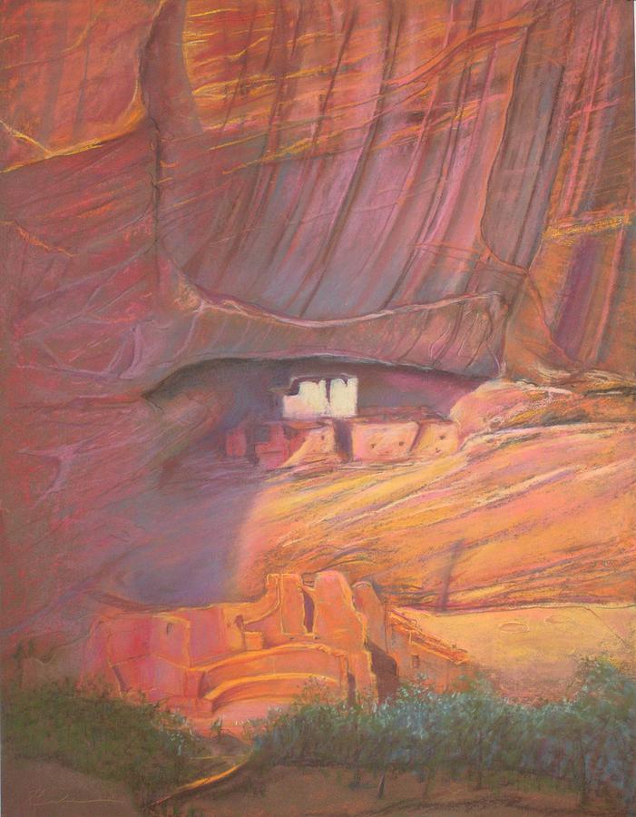 White House Rock  Home Of He Anasazi He Anasazi Pastel by Pamela Mccabe
