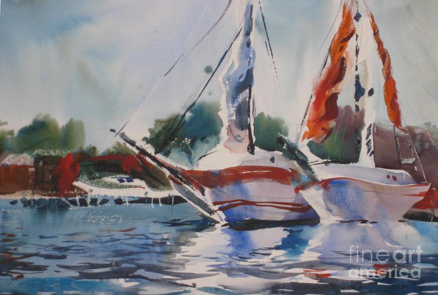 Boats Painting - White Hulls by John Byram